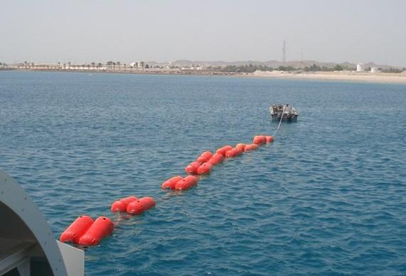 Hose floater on sea